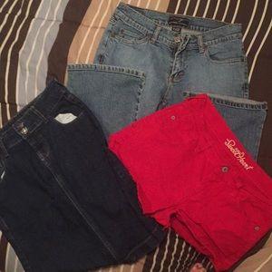 1 red short, 1 blue jeans, 1 skirt. Size 2.. (bag8